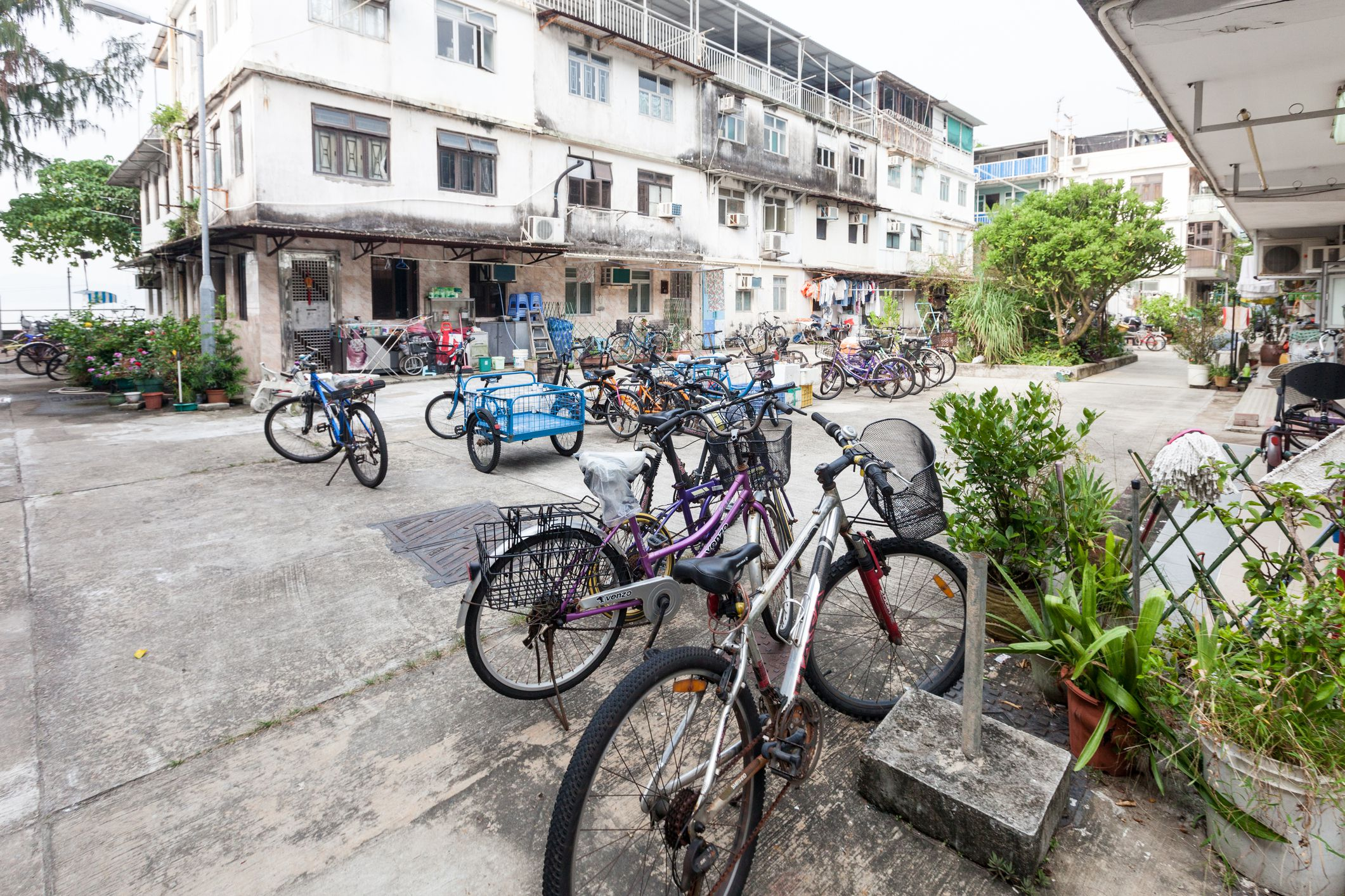 Bicycles In A Residential Area On Peng Chau Island, Hong Kong