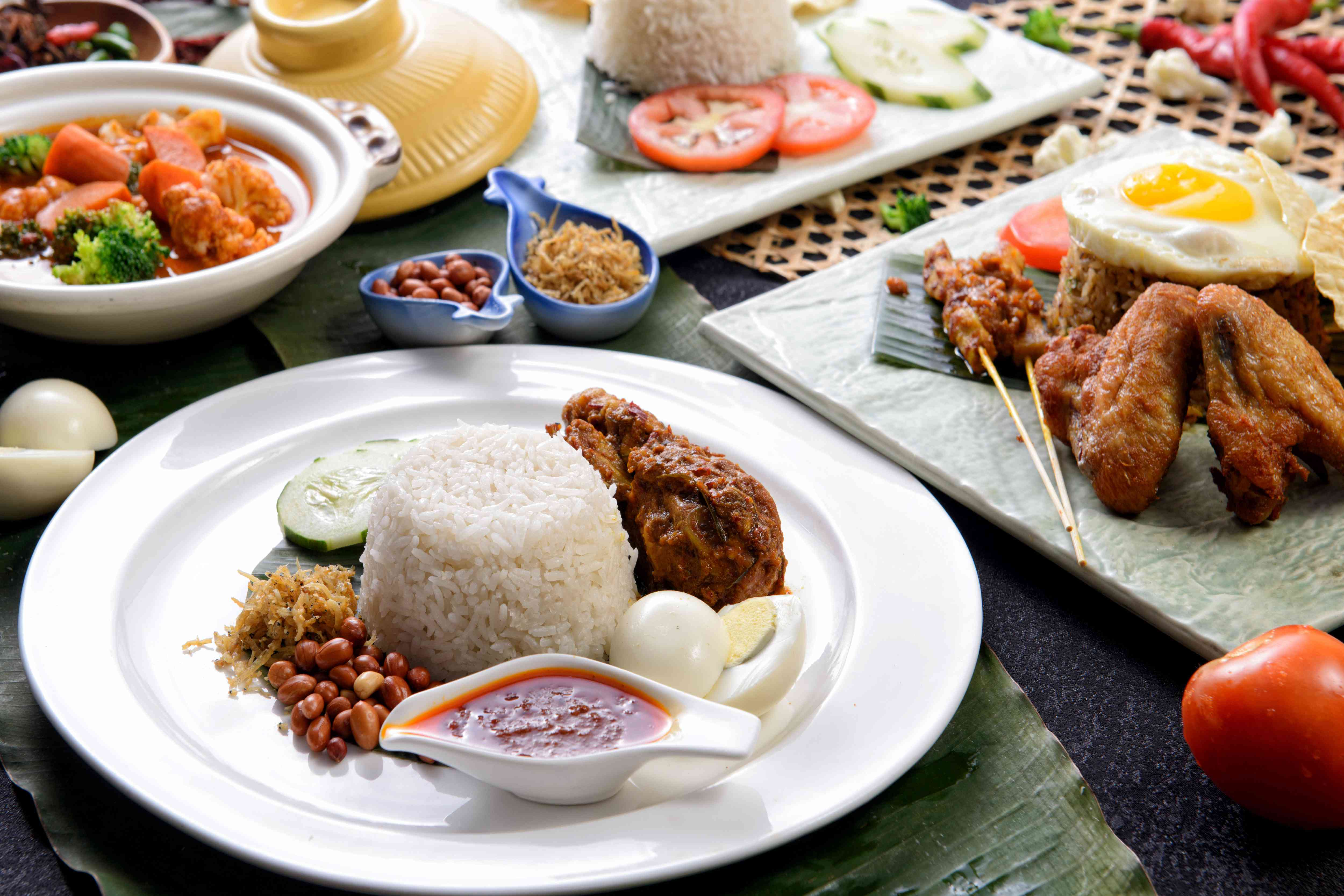 A spread of Malaysian food in Georgetown, Penang