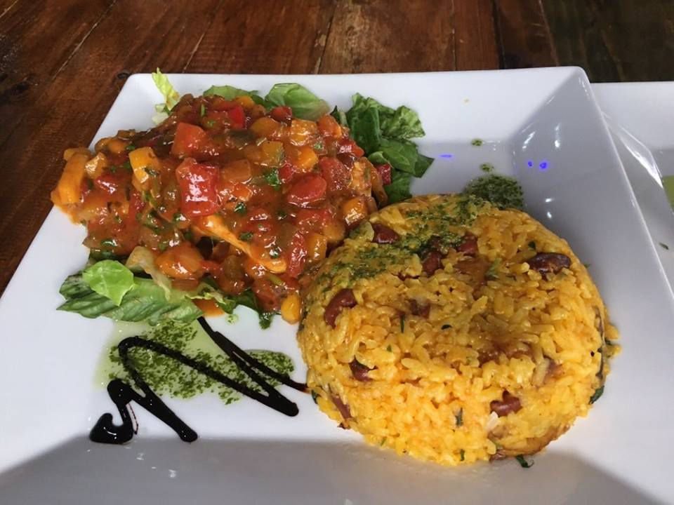 Rice and beans meal at Punto de Vista Rooftop Restaurant