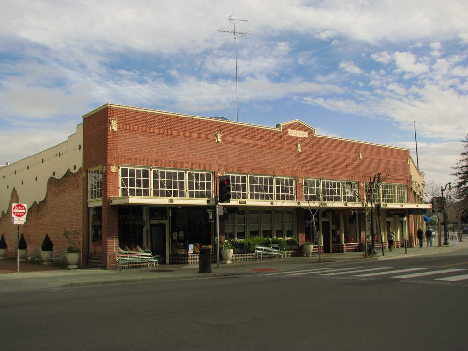 The brick facade of Central Market, one of the many superb eateries in historic downtown Petaluma