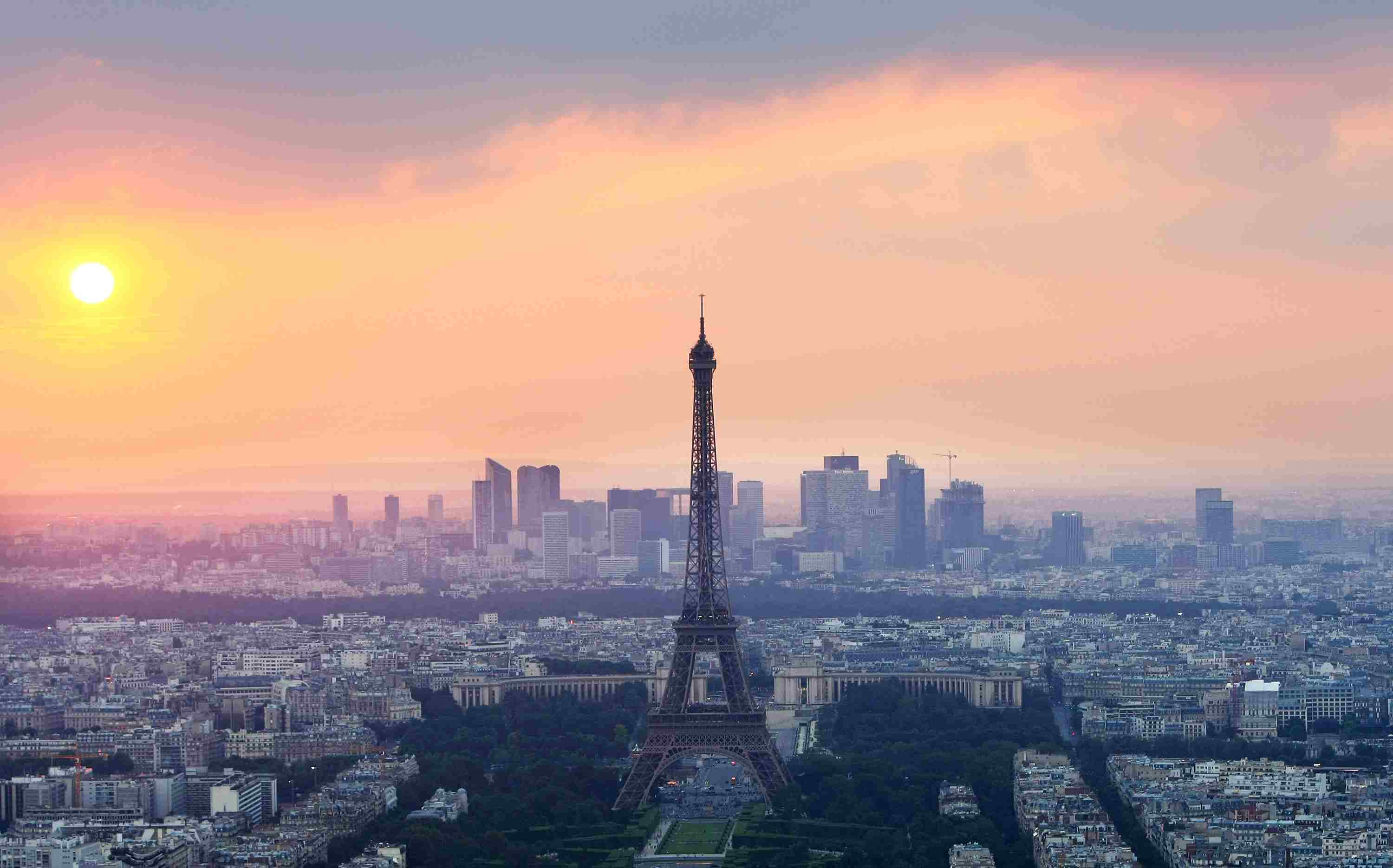 The Eiffel Tower photographed at sunset