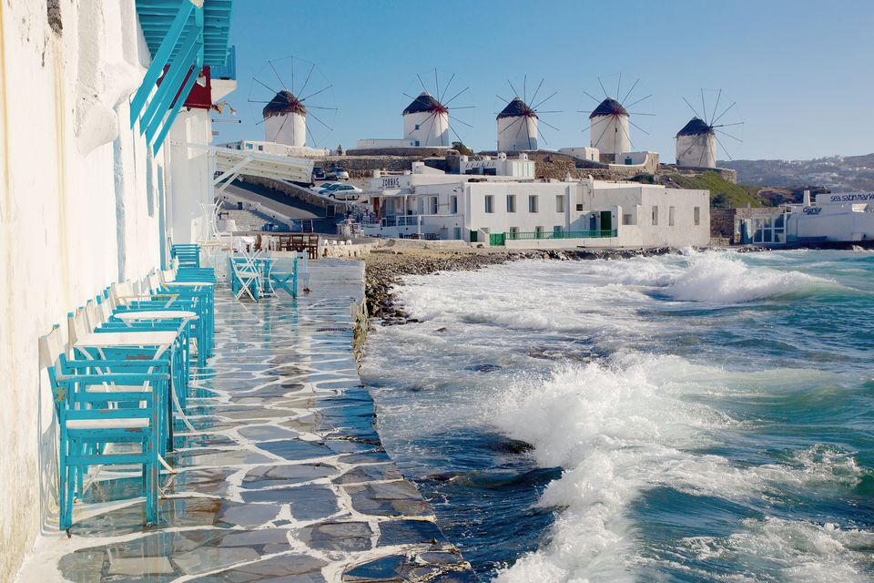 The famous windmills in Mykonos, Greece.