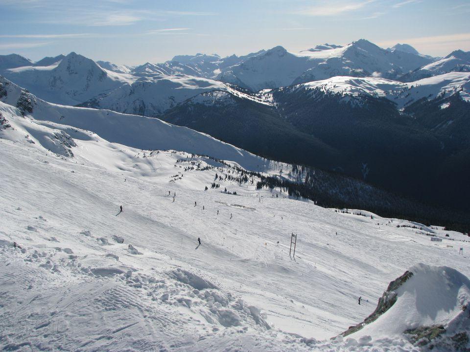 Ski paths on a snowy mountain