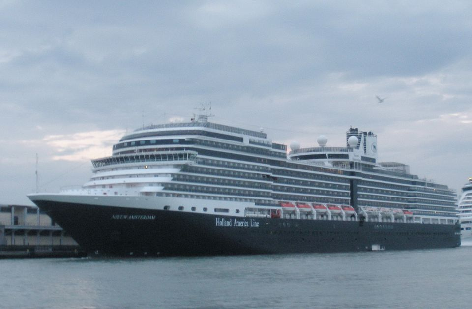 Holland America Nieuw Amsterdam in Venice, Italy on Mediterranean cruise embarkation day