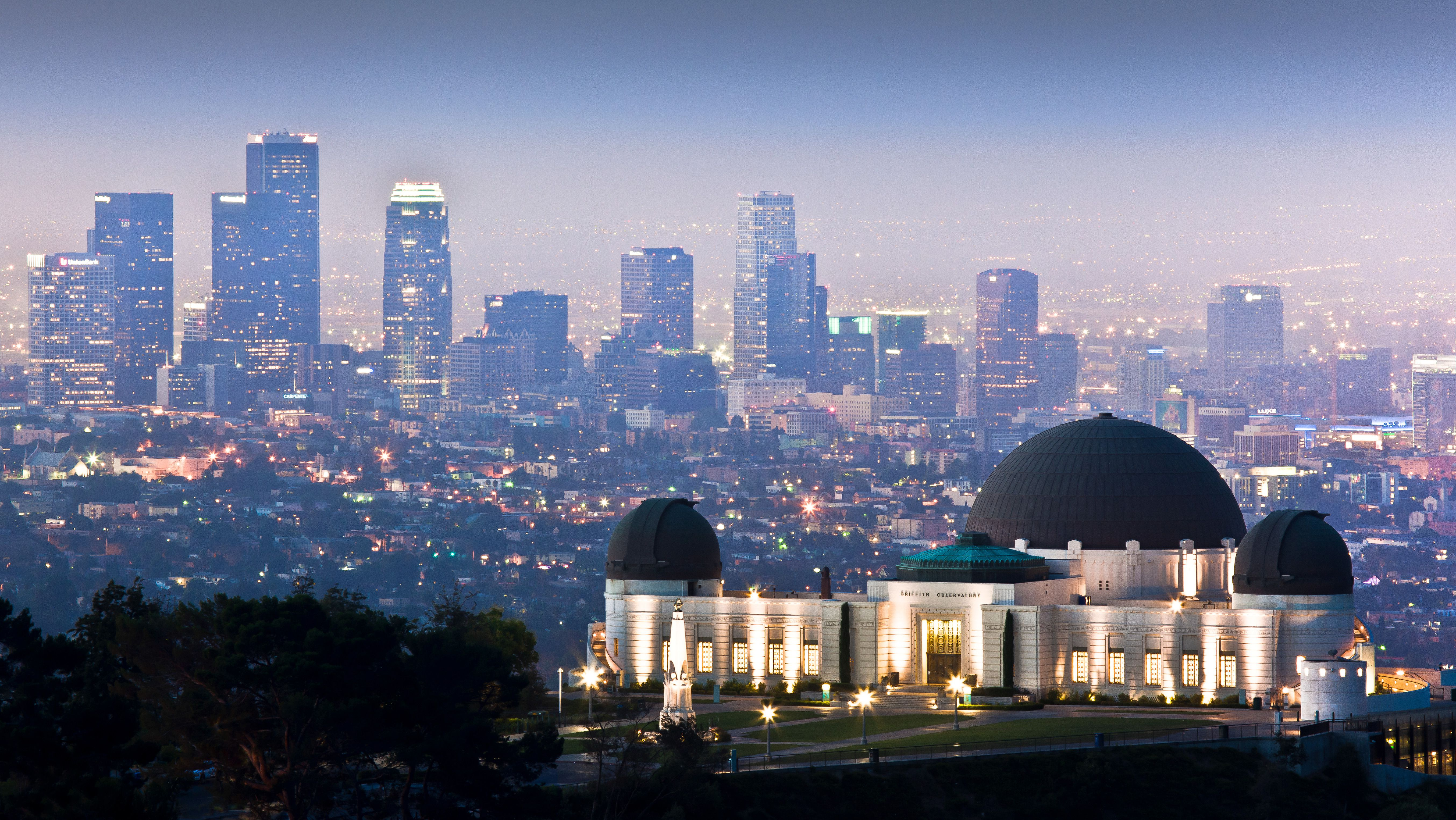 View of Downtown L.A. from the Griffith Observatory at night