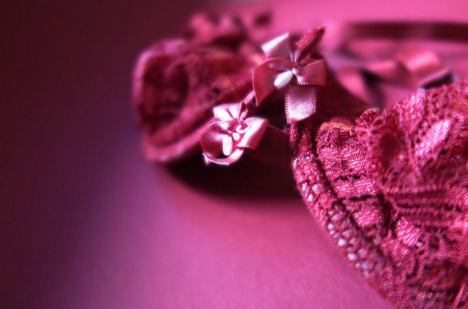 Close-Up Of Ribbon On Pink Bra