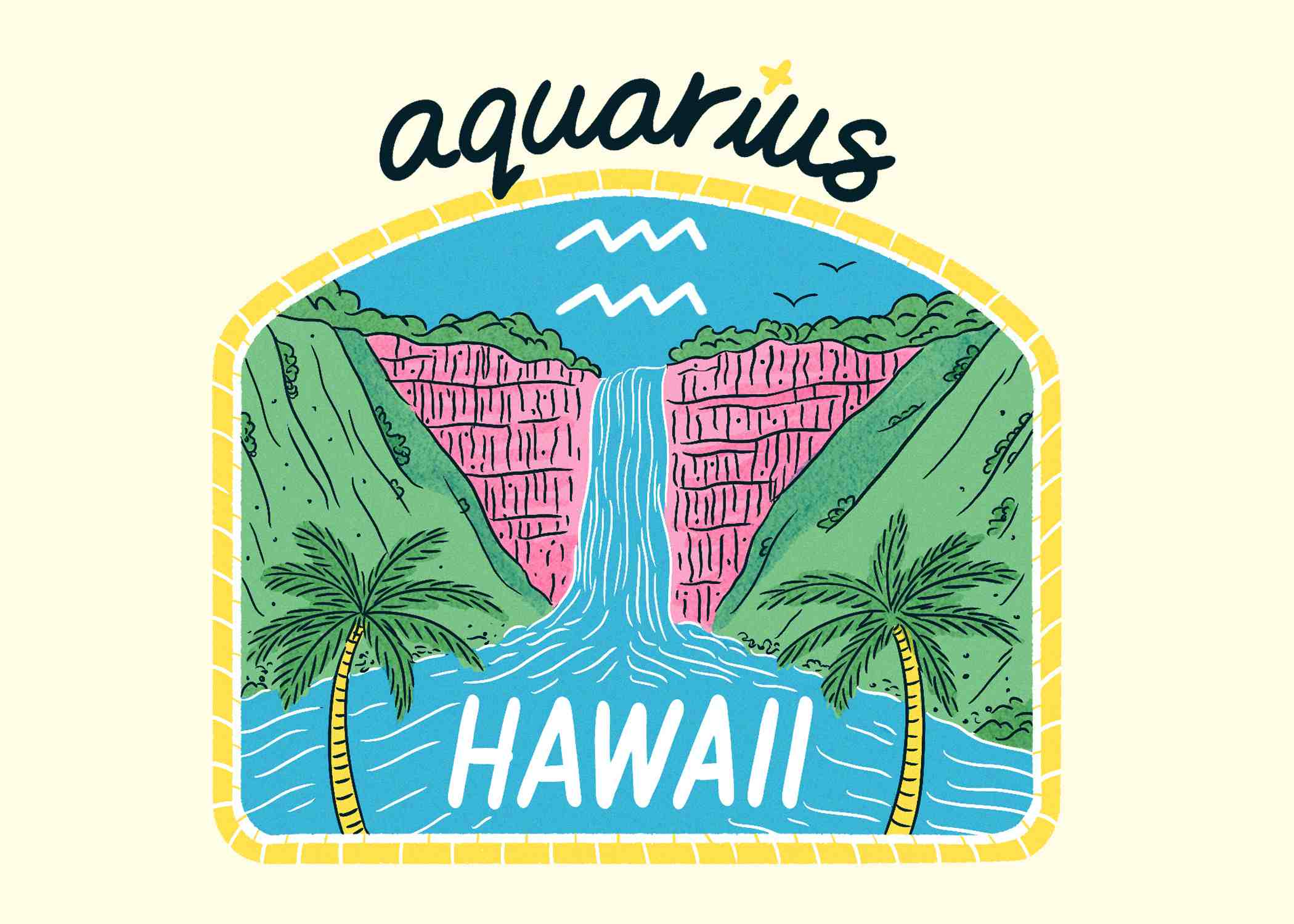 An illustration of Hawaii for Aquarius