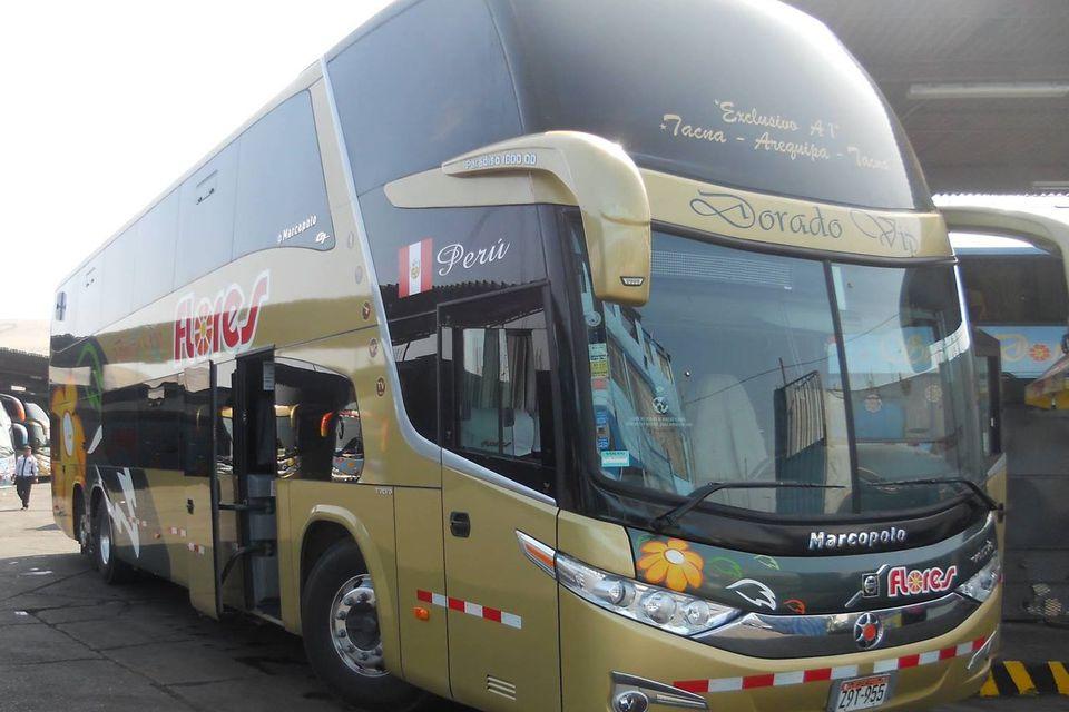 A Flores Dorado-class bus in Peru.
