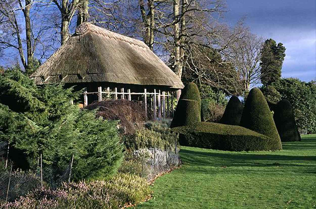 Thatched roof on the Hawk House at Chirk Castle, a National Trust property in Wales