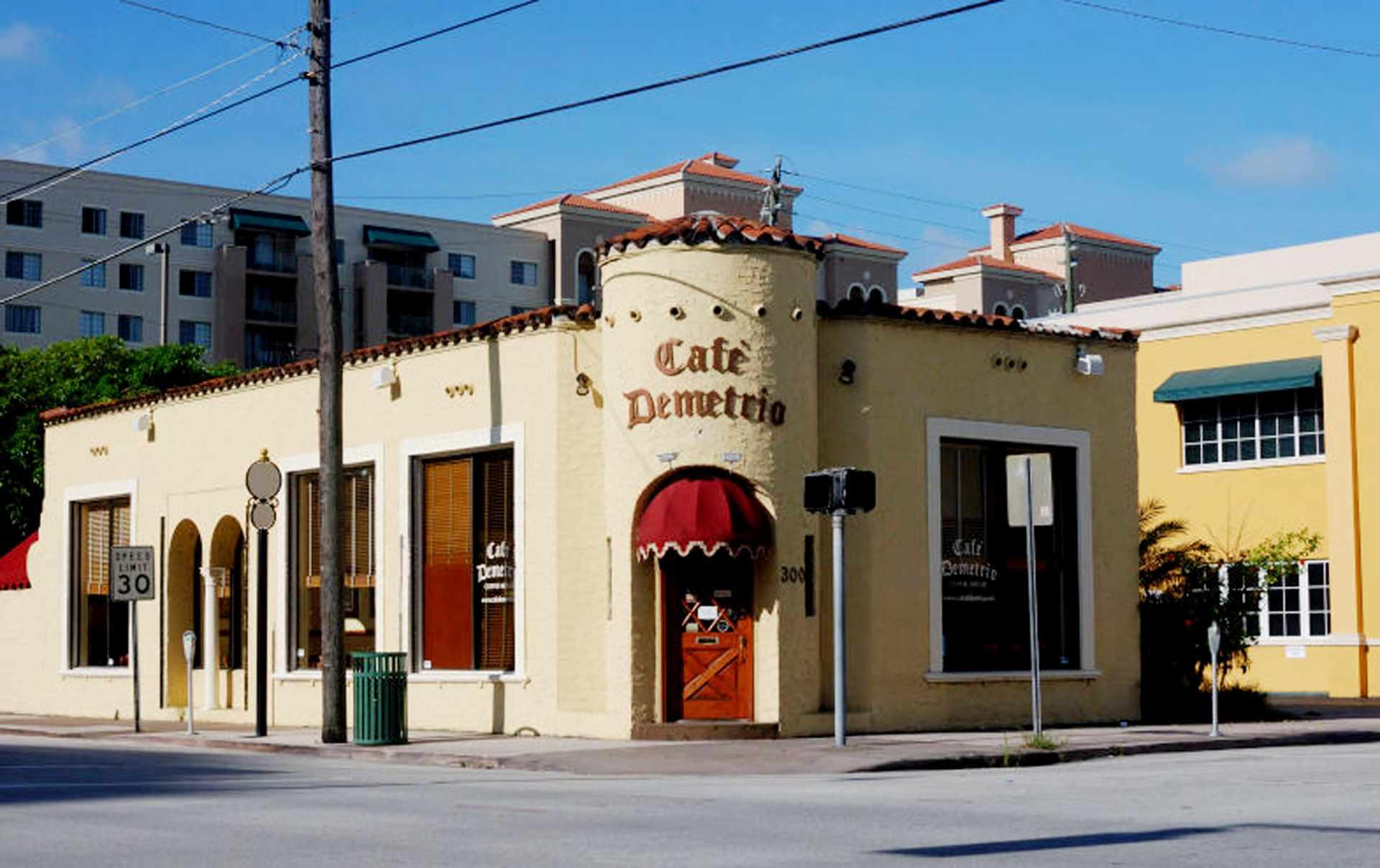 front of cafe Demetrio miami