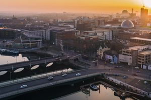 Belfast sunset aerial view