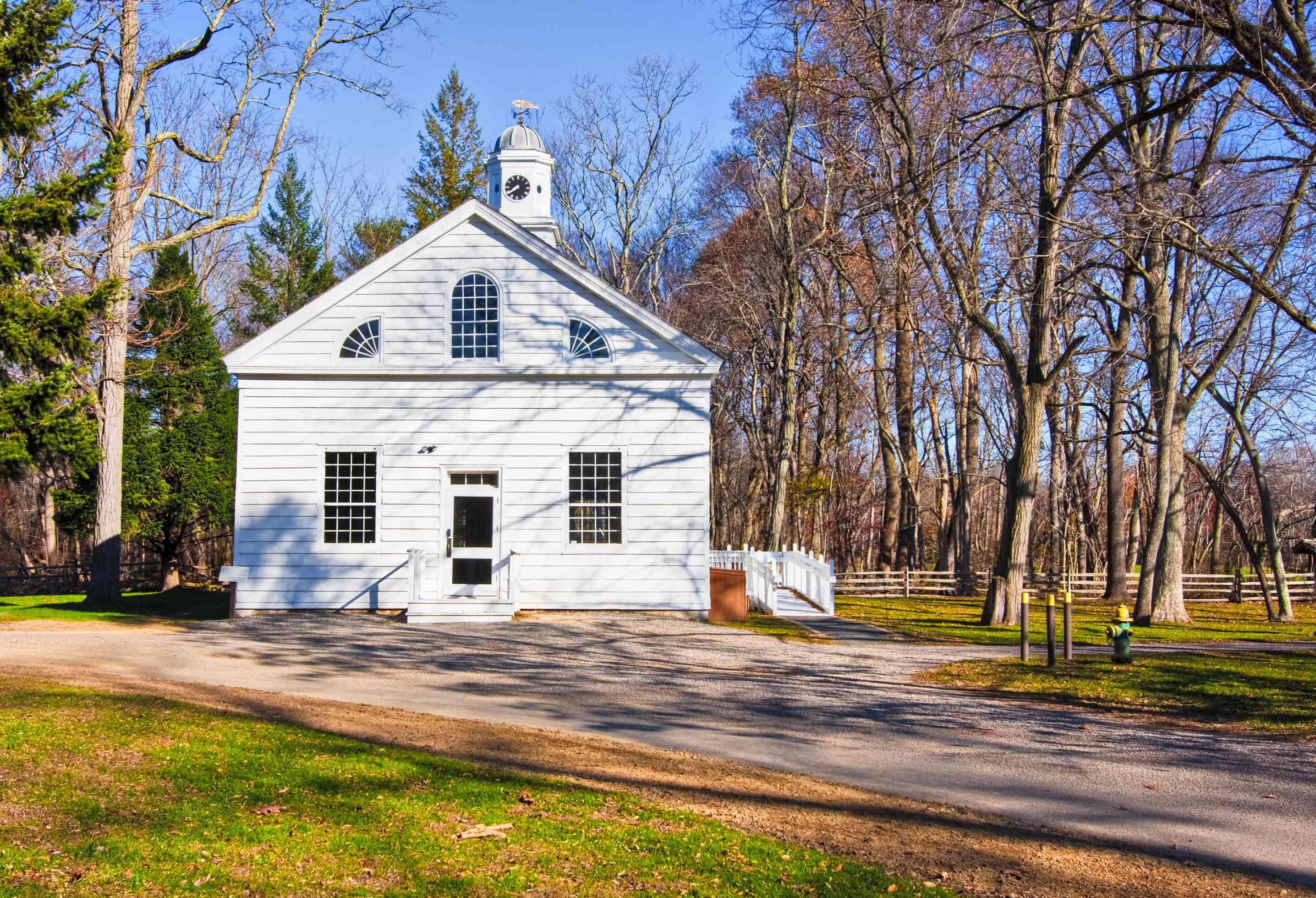 An old, restored church in Allaire Village, New Jersey