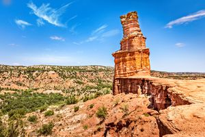 The famous Lighthouse Rock at Palo Duro Canyon State Park, Texas