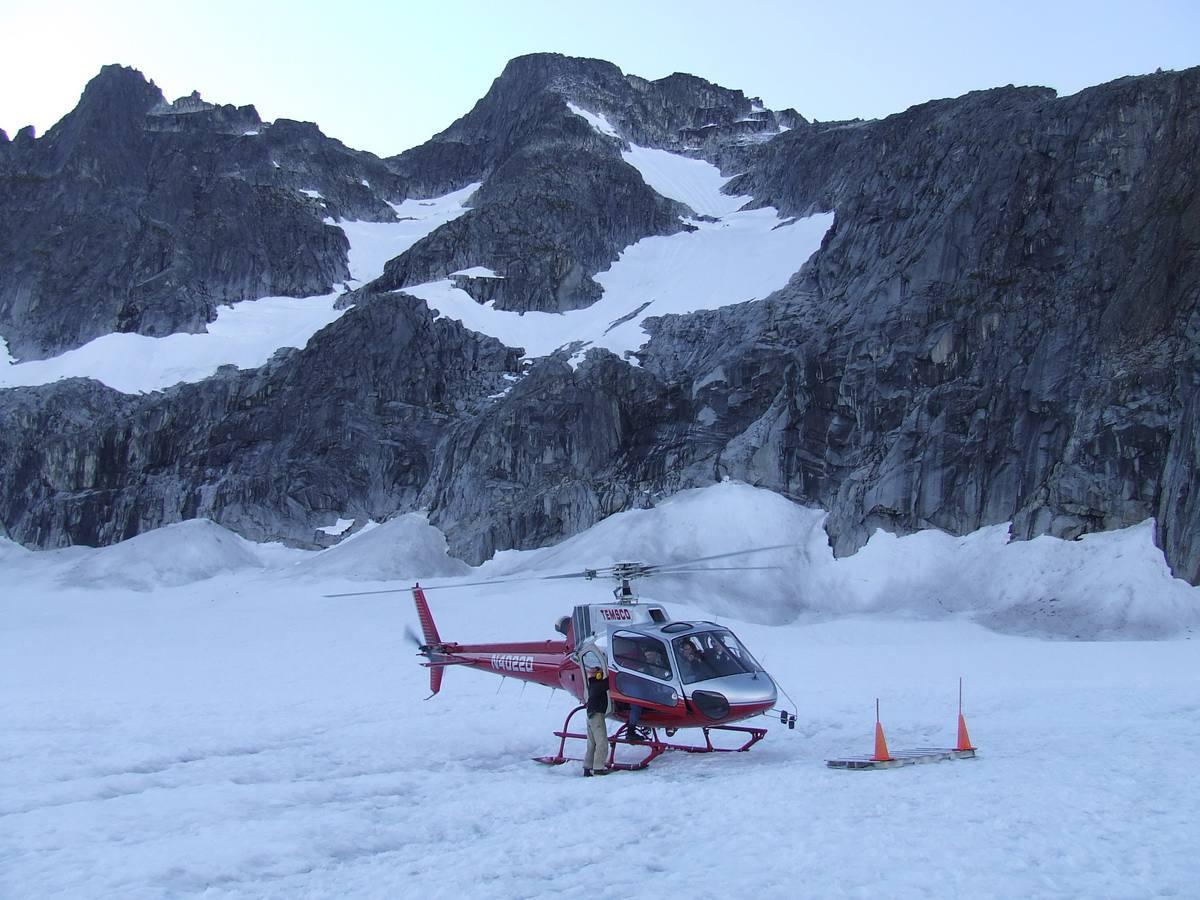 Helicopter on Alaska Icefield near Juneau, Alaska