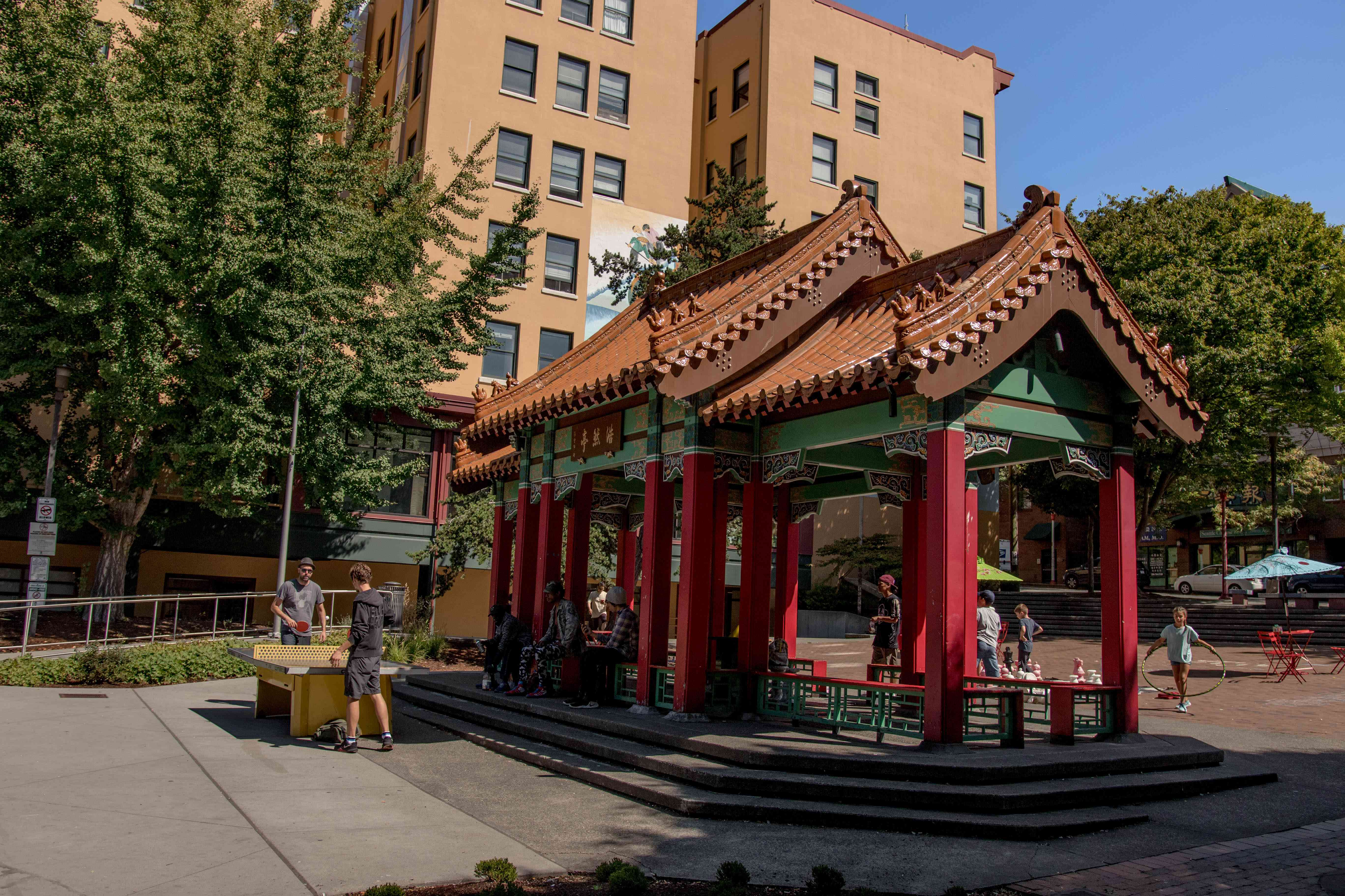 Hing Hay Park in Chinatown, Seattle