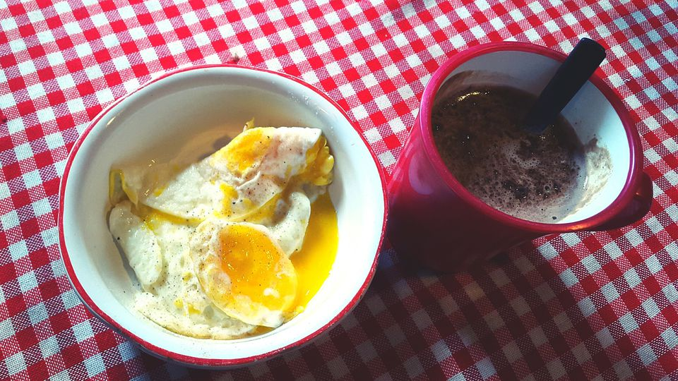 Omelet In Cup And Coffee