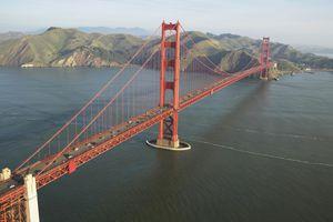 Red-colored suspension bridge, the Golden Gate Bridge in San Francisco, California
