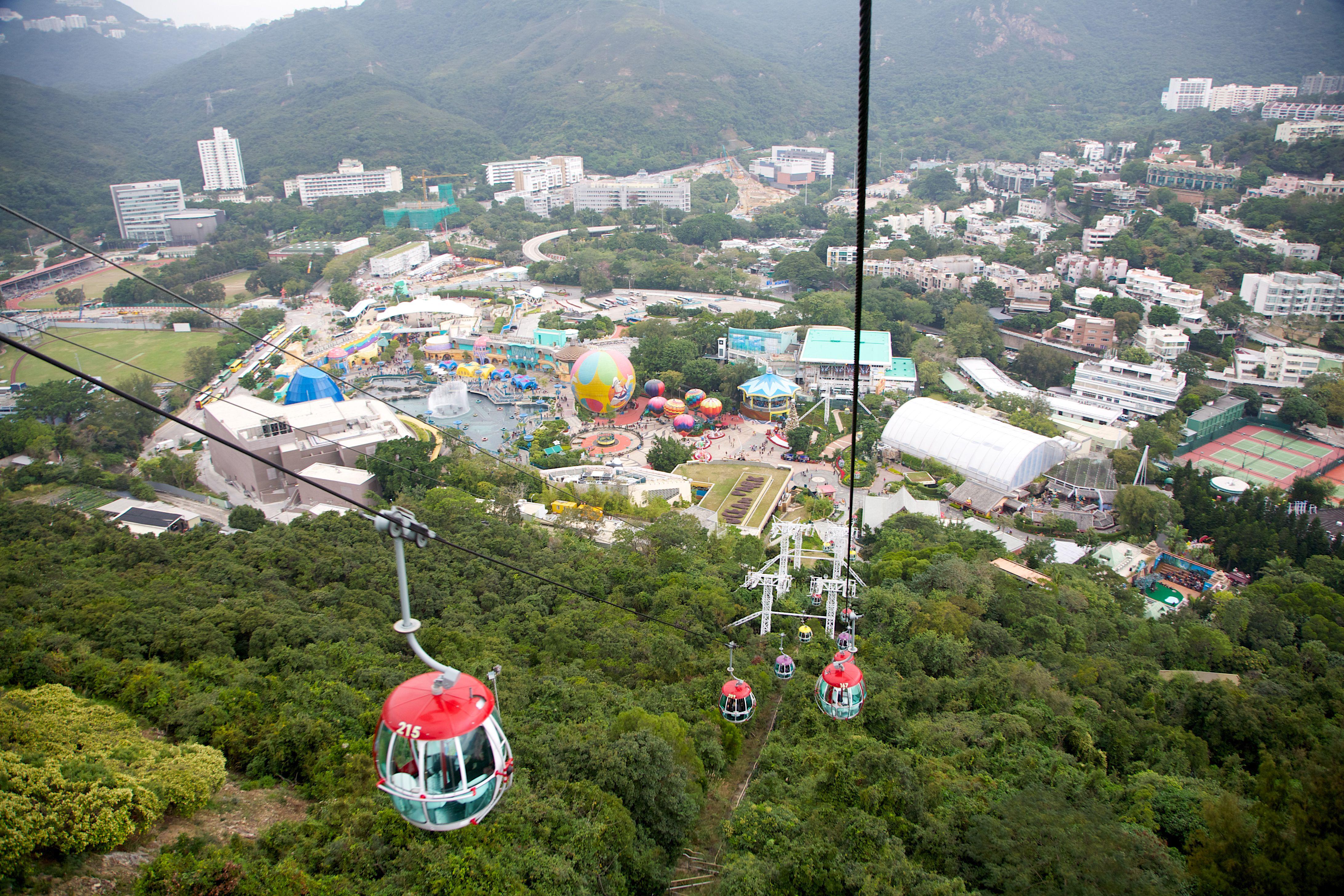 Ocean Park's cable car provides views of Hong Kong Island and the park.