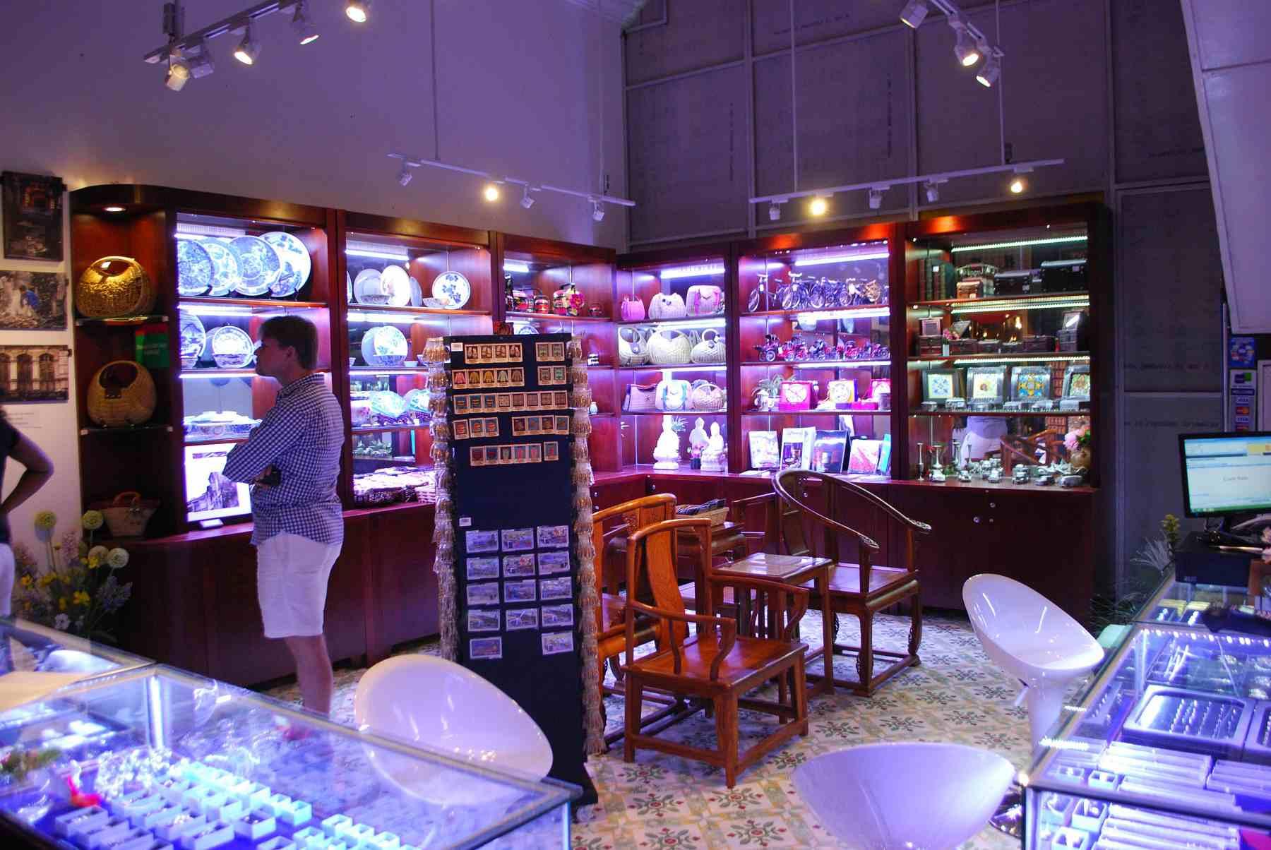 Jewelry and chinaware display at the Peranakan Museum