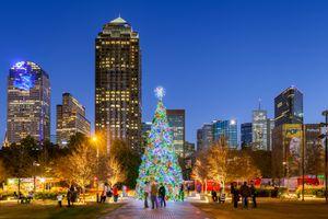 Christmas Tree in Klyde Warren Park in Dallas, Texas