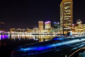 Night view to Baltimore Inner Harbor