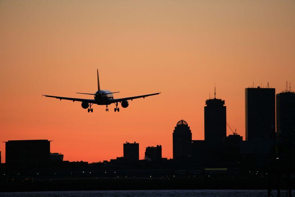 Boston Skyline Logan Airport Arrival Airliner Sunset