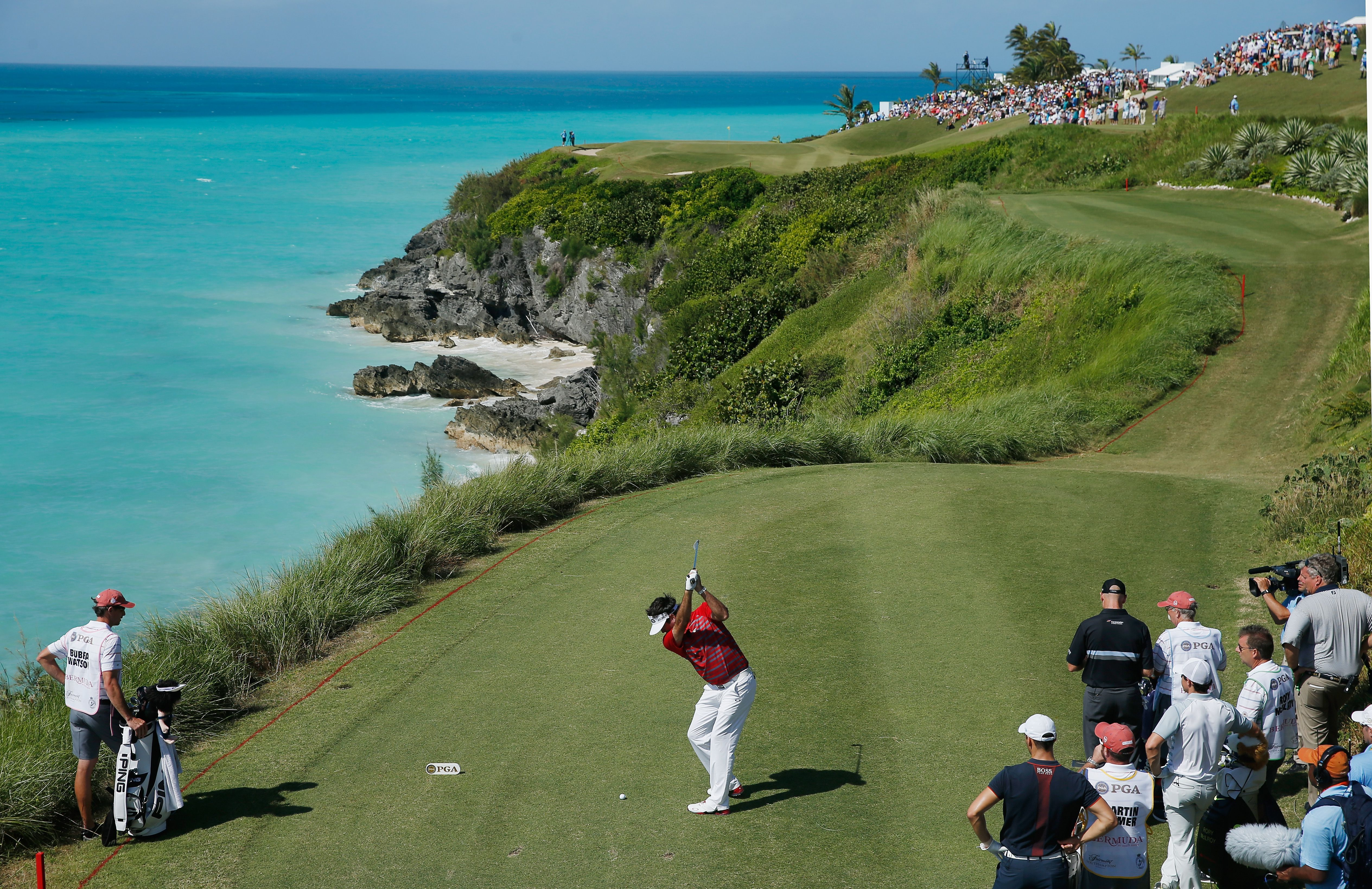 Bubba Watson of the United States hits his tee shot on the 16th hole during the final day of the PGA Grand Slam of Golf at Port Royal Golf Course in Southampton, Bermuda.