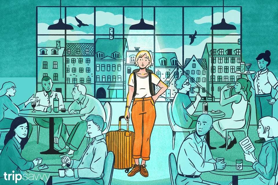 Illustration of solo traveler looking for a table