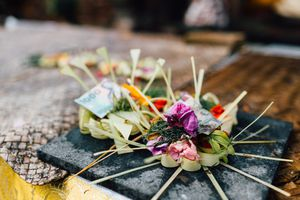 Bali canang sari offering with money