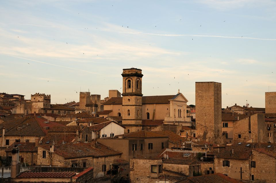 A detail of Tarquinia taken at sunset