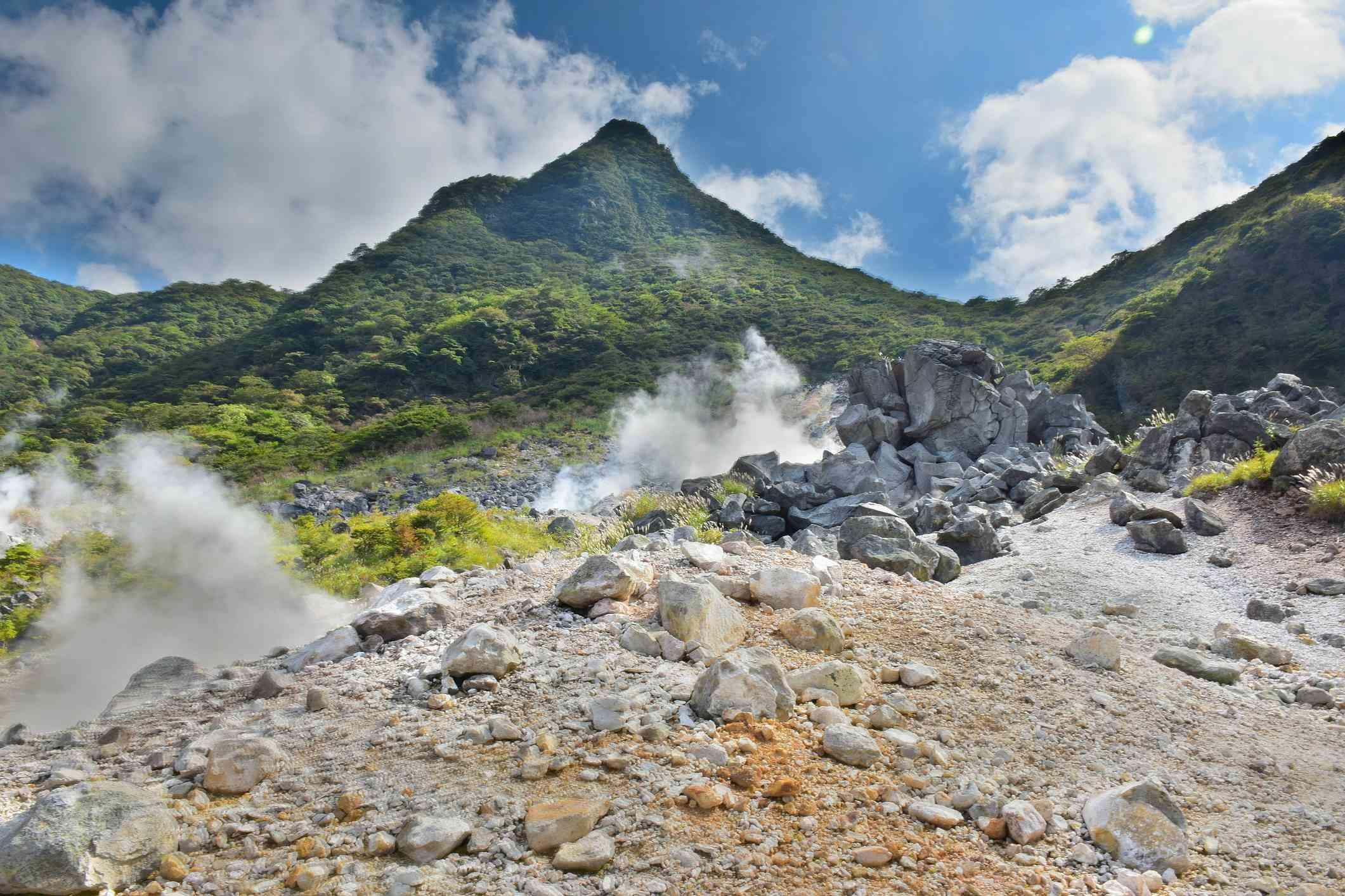 Hot spring vents at Owakudani valley at Hakone, Japan