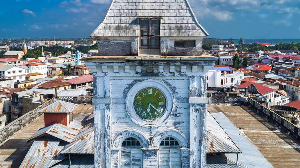 Old clock on a tower in Stone Town, Zanzibar