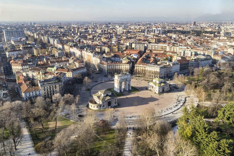 Una visión general de la ciudad de Milán en Italia