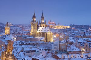 Prague - Hradcany Castle and Tyn church in winter