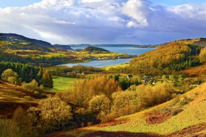 A scenic autumn view of a coastal landscape in the Scottish Highlands, looking towards Loch Melfort, Highlands, Argyll and Bute