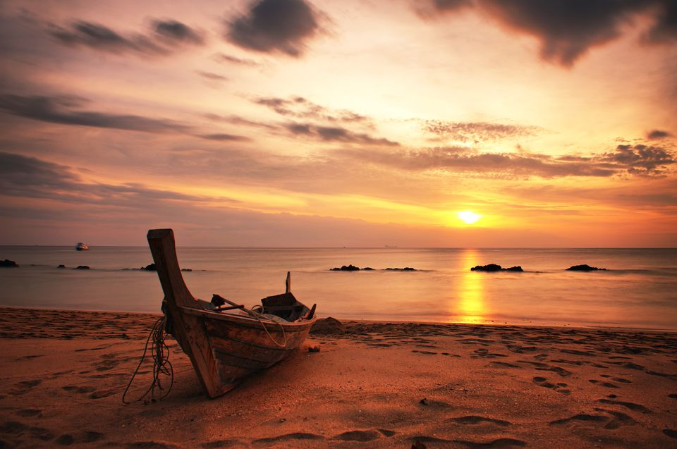 A boat on Koh Lanta, Thailand at sunset