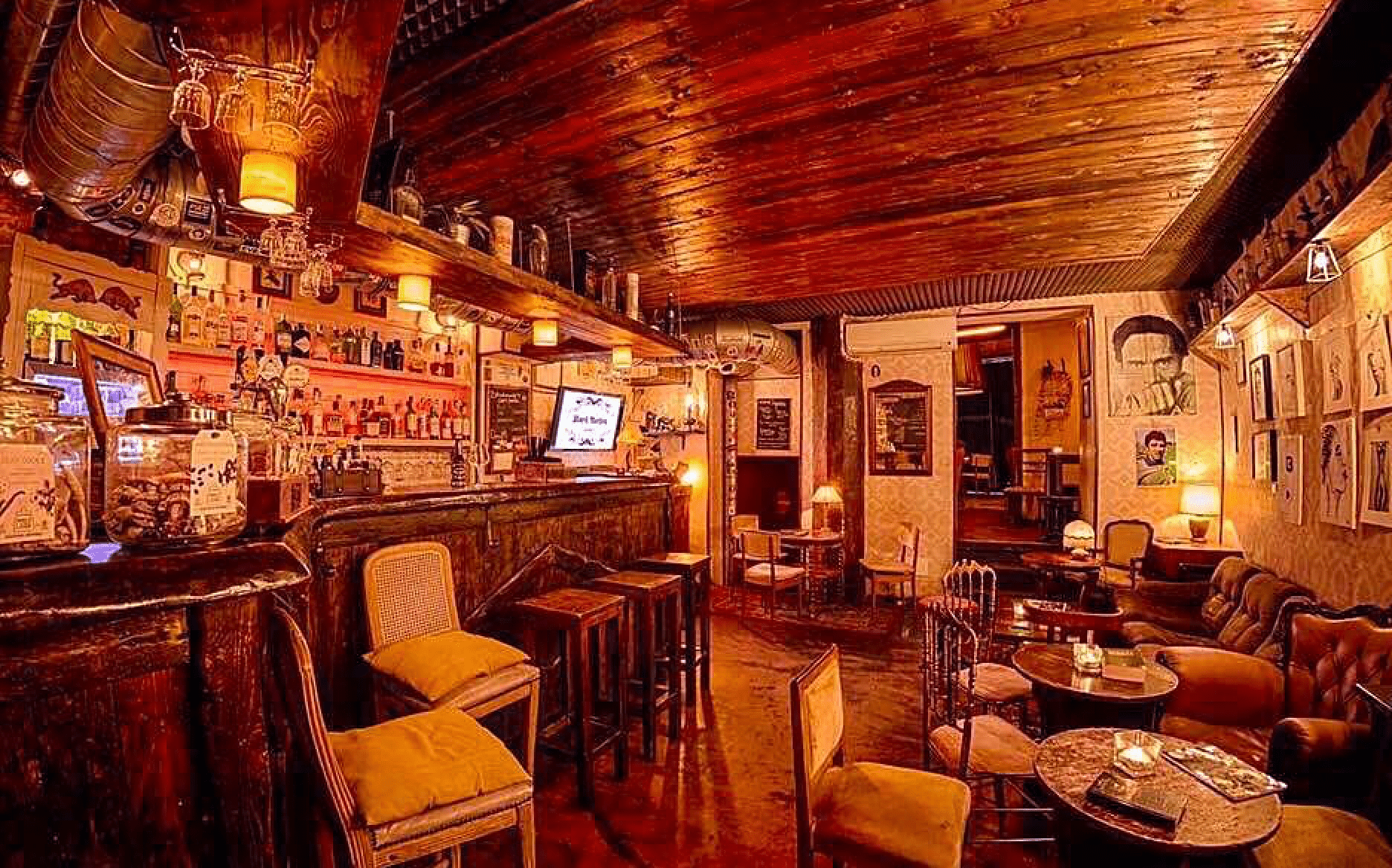 Inside the cozy cocktail area at Blackmarket in Monti