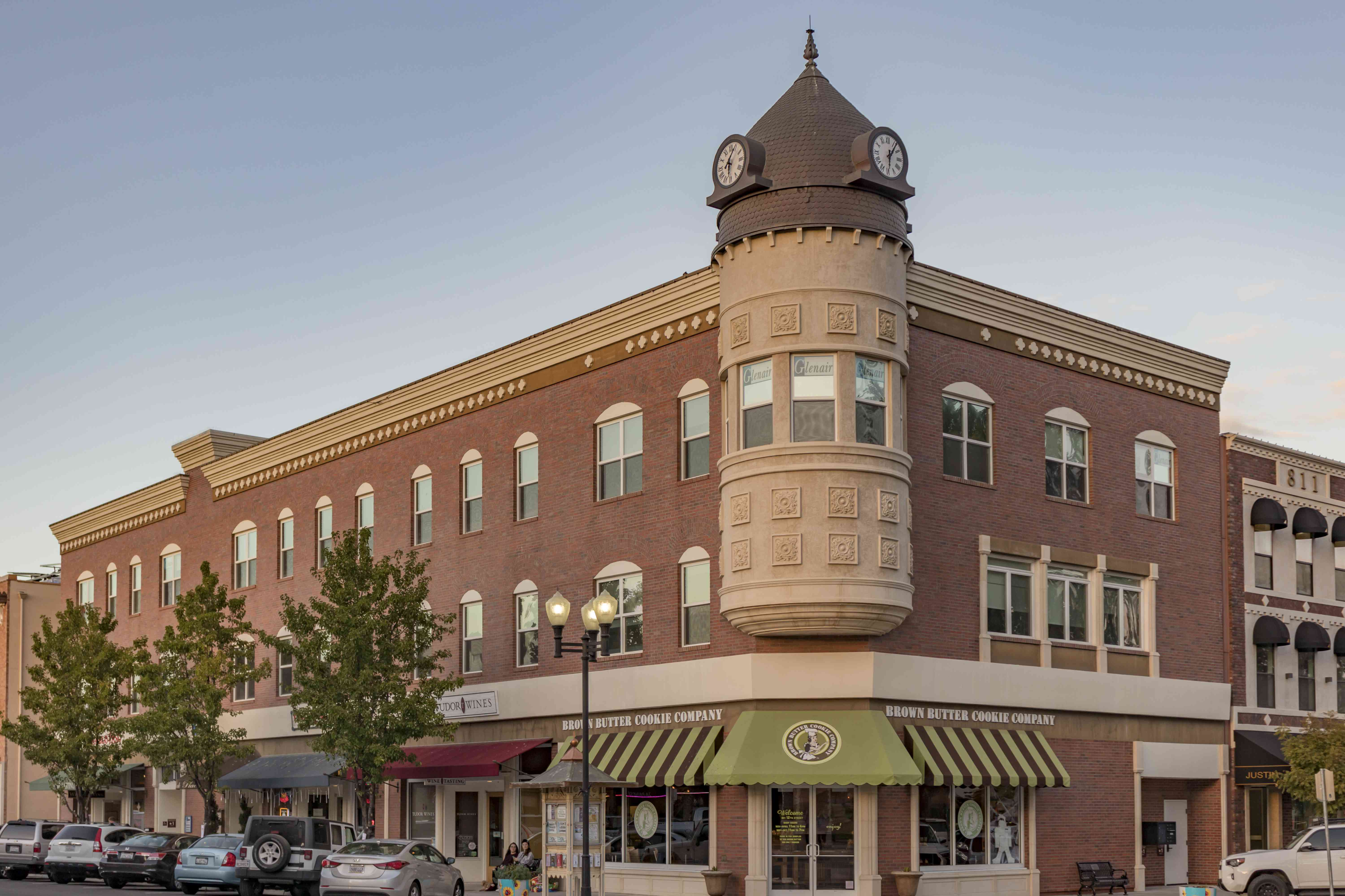 The iconic Acorn Building with a clocktower at the corner of 12th and Park Street in Downtown Paso Robles, California.