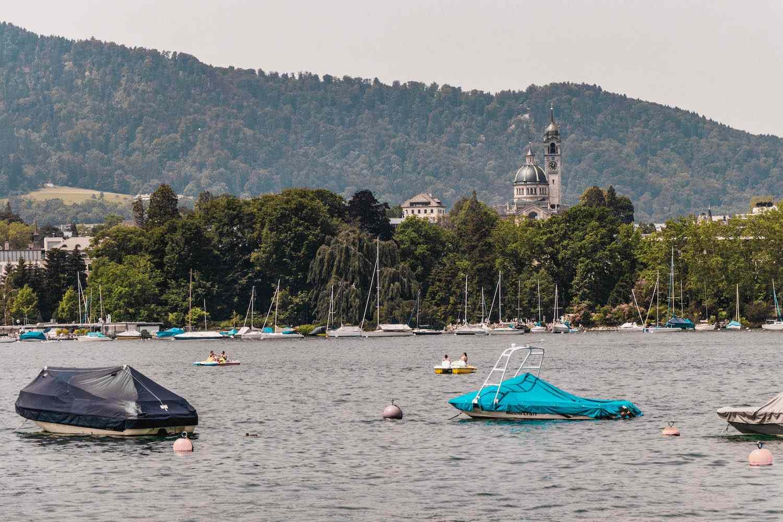 Boats on Lake Zurich in Switzerland