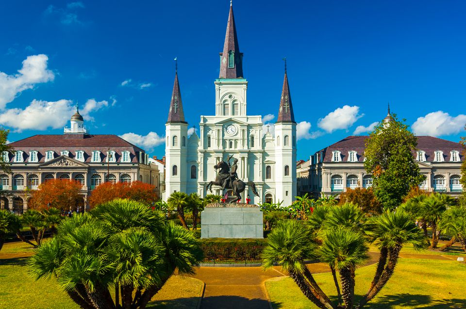 Jackson Square with Saint Louis Cathedral in New Orleans