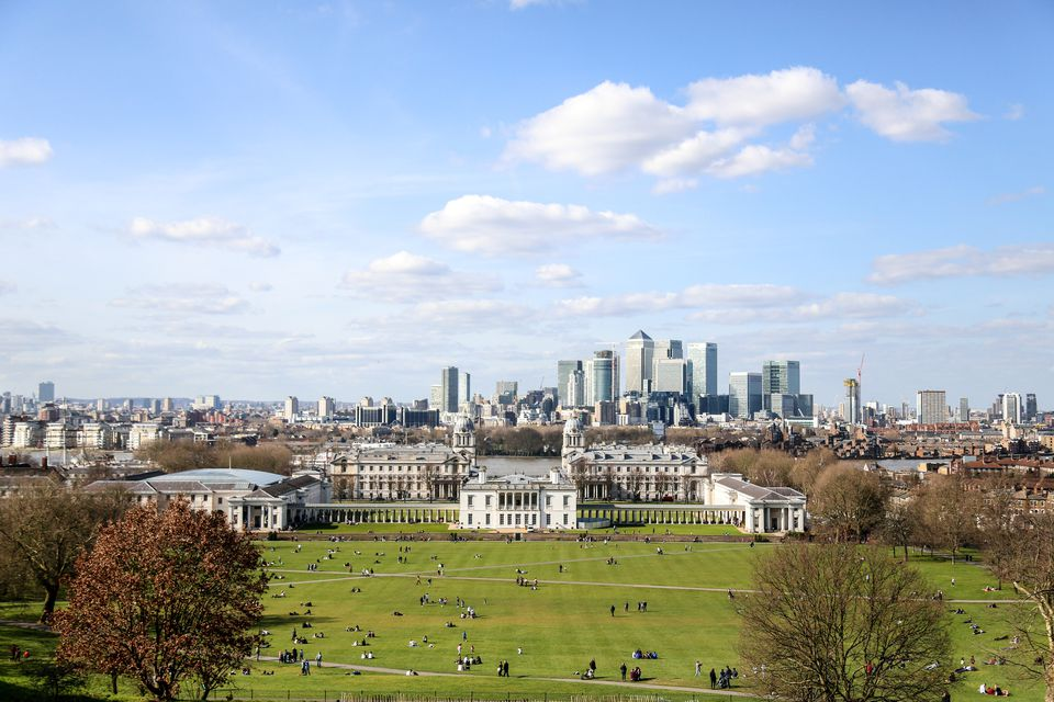 View of London skyline from Greenwich Park