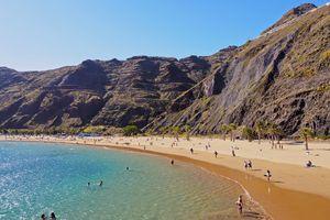 Spain, Canary Islands, Tenerife, Santa Cruz de Tenerife, San Andres, Las Teresitas Beach on sunny day