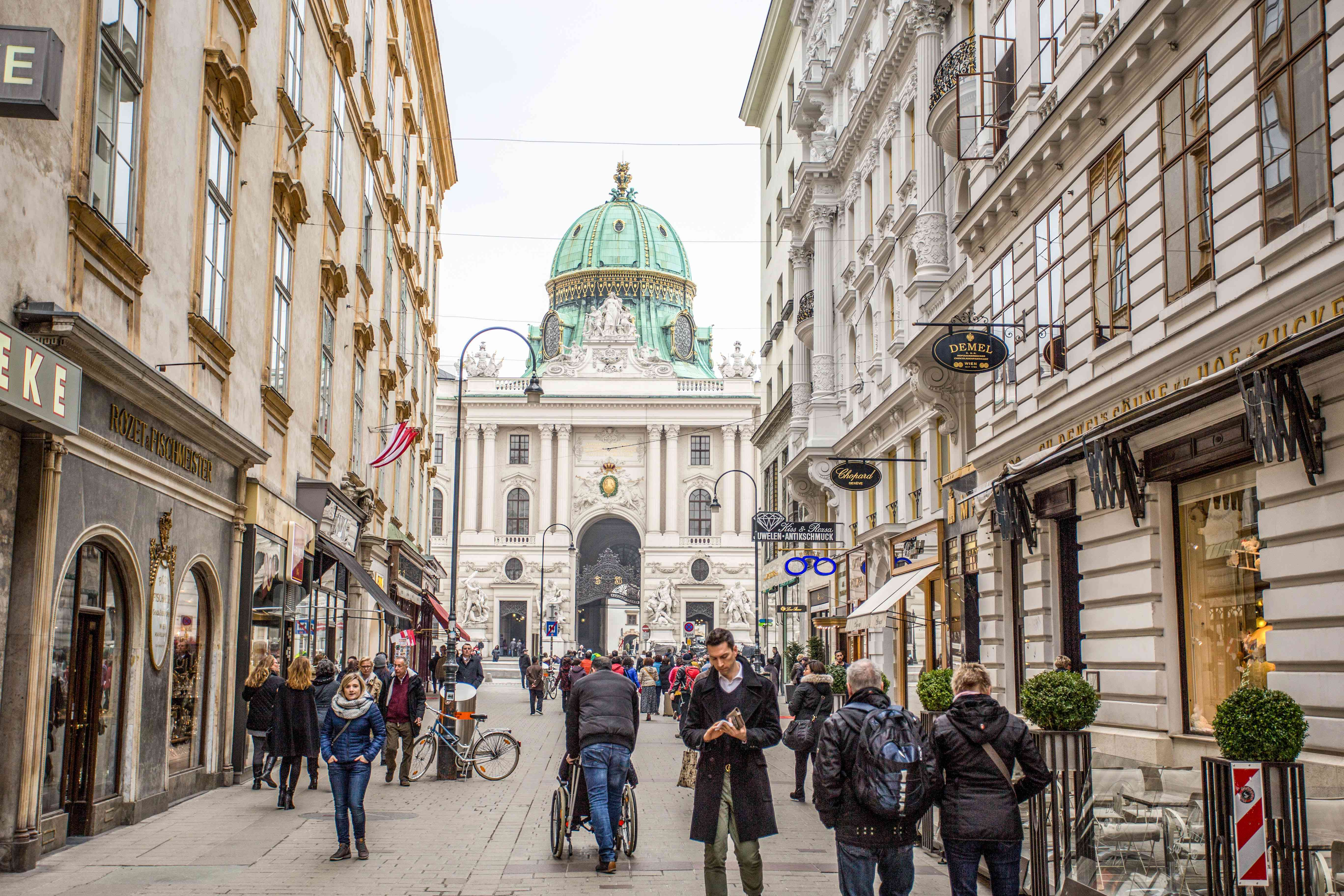 Street in Vienna leading to the palace