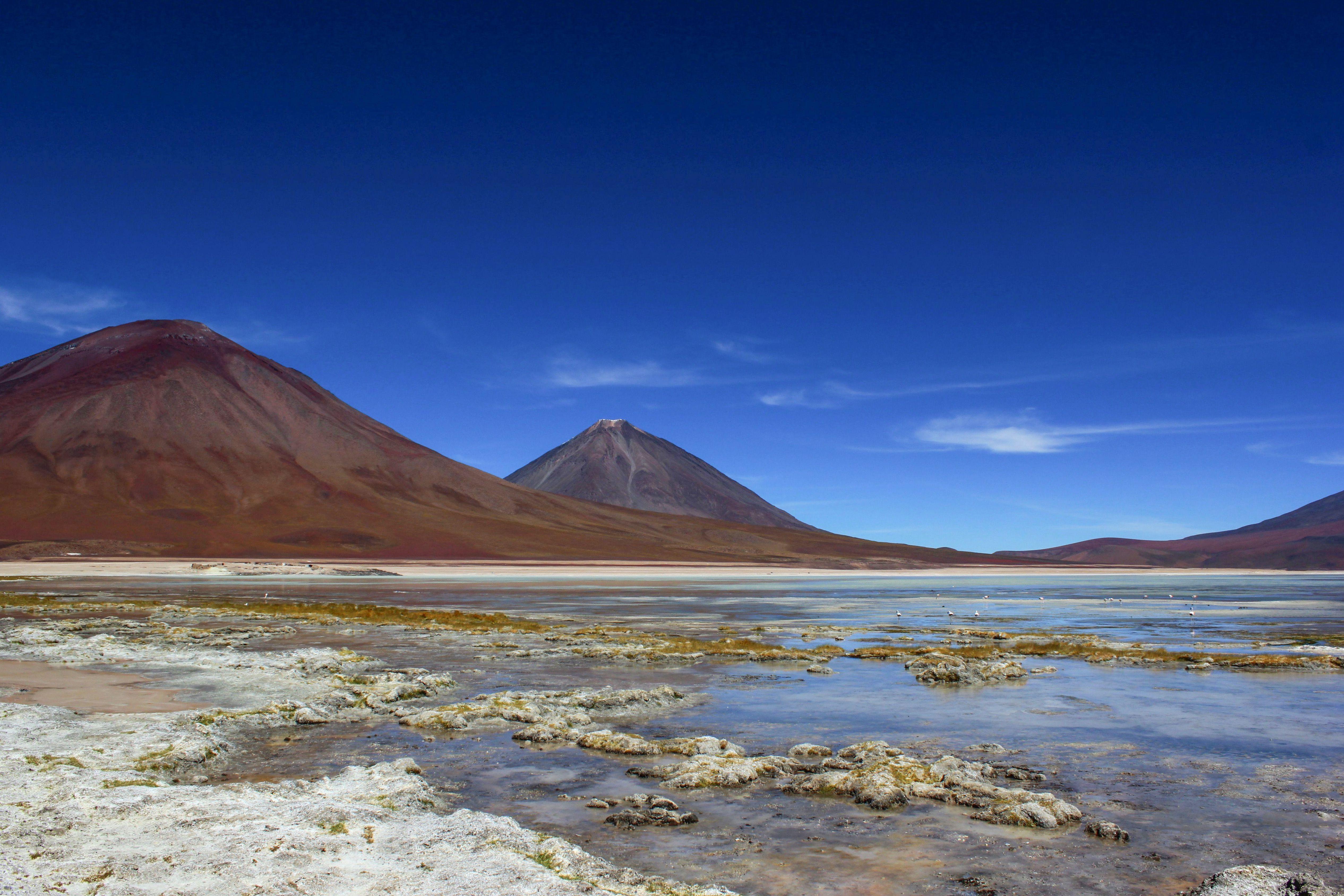 Scenic view of a lagoon in the Atacama dessert