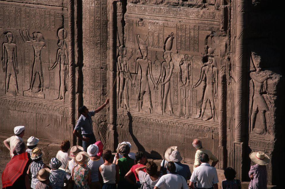 Visitors to the Temple at Esna, Egypt