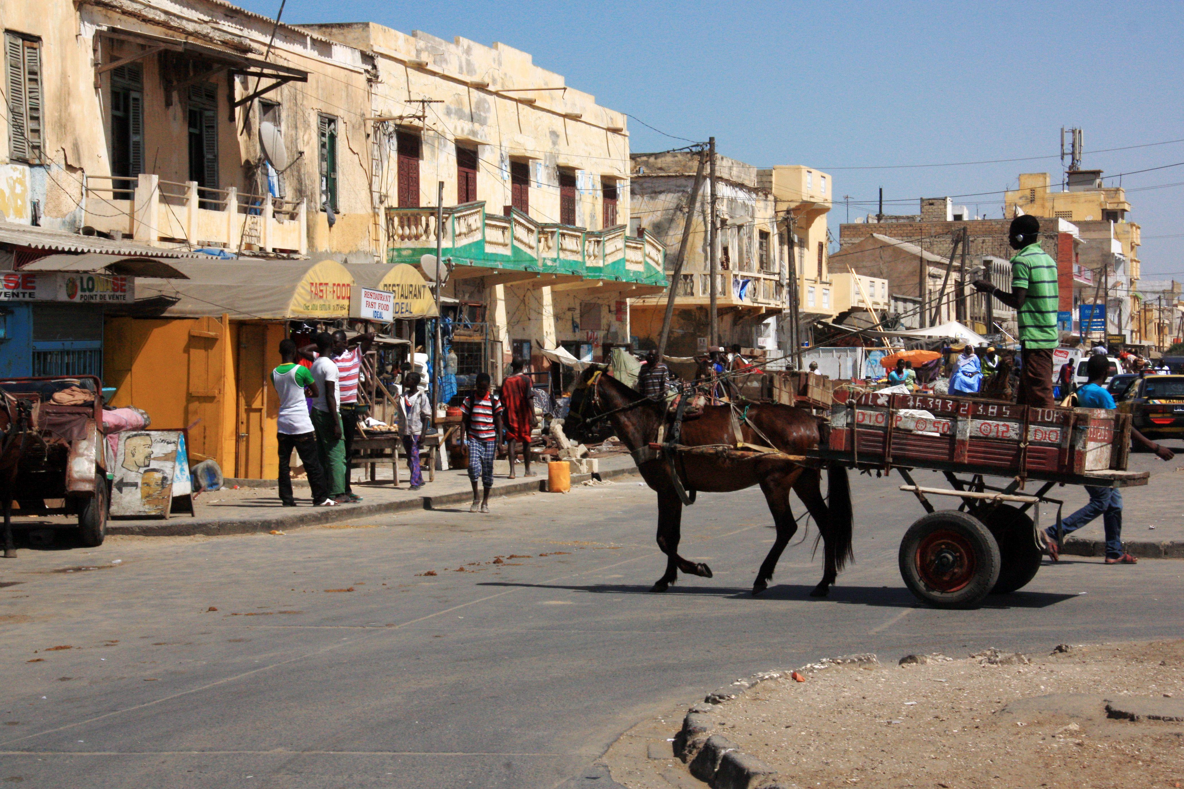Typical scene on the street in Saint-Louis-du-Sénégal