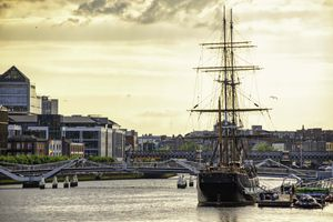 Ships sailing along the Liffey