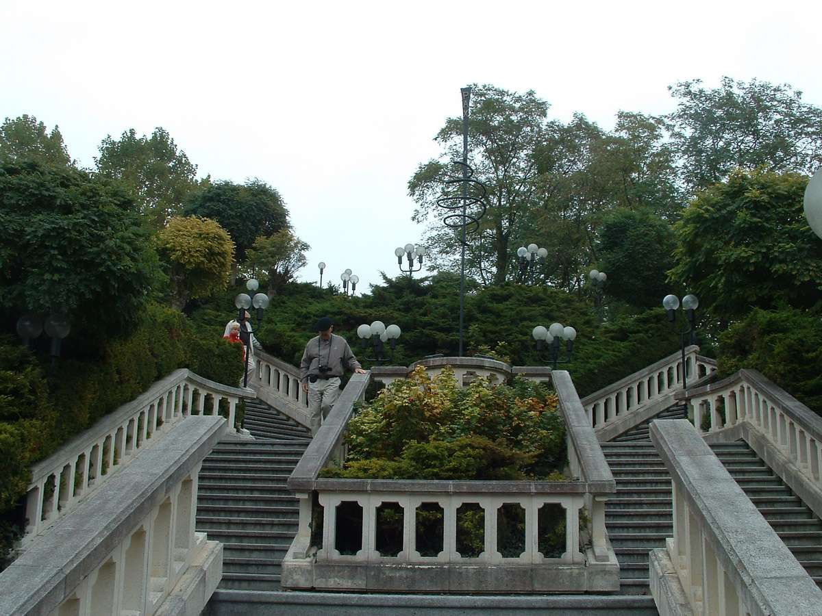 Stairway to Melk Abbey from Parking Lot