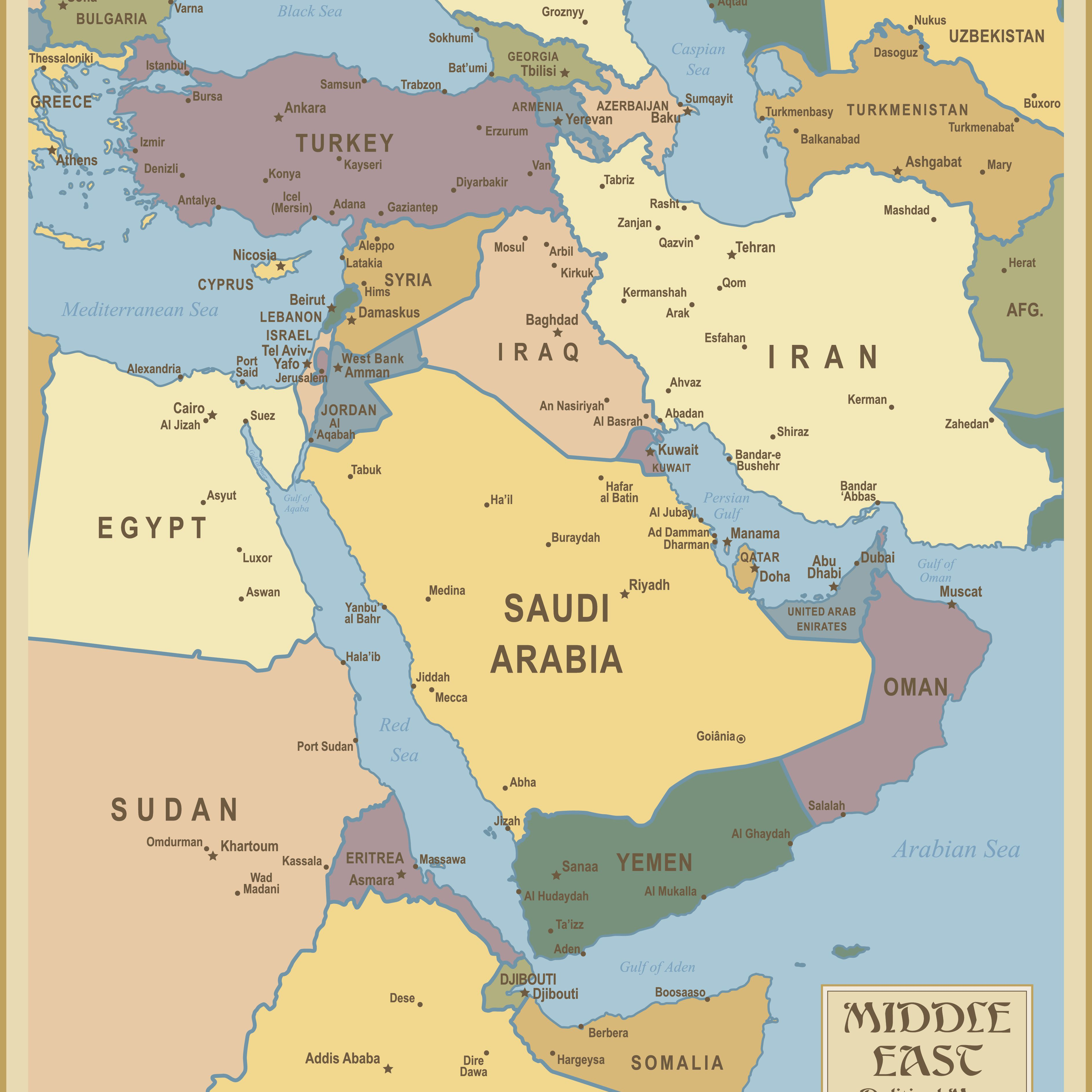 Red Sea and Southwest Asia Maps - Middle East Maps