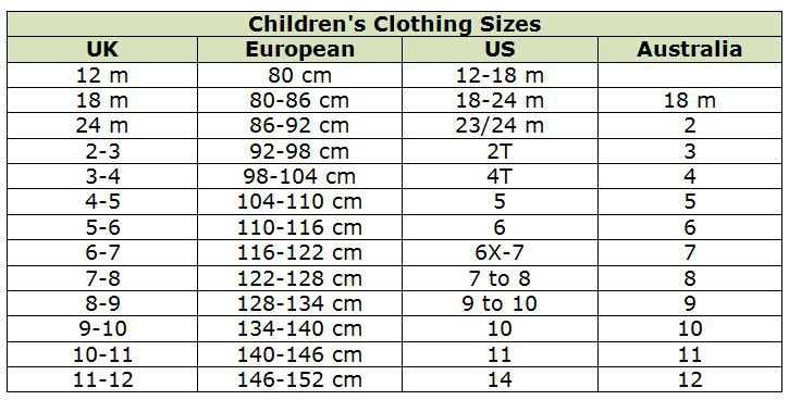 Children S Clothing Size Conversion Chart